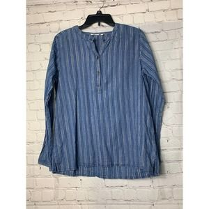 DYLAN SMALL LONG SLEEVE LINEN BLOUSE TOP BLUE/GOLD